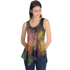 Abstract Brush Strokes In A Floral Pattern  Sleeveless Tunic