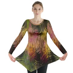 Abstract Brush Strokes In A Floral Pattern  Long Sleeve Tunic