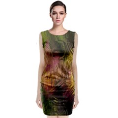 Abstract Brush Strokes In A Floral Pattern  Classic Sleeveless Midi Dress