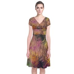 Abstract Brush Strokes In A Floral Pattern  Short Sleeve Front Wrap Dress