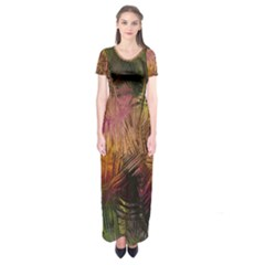 Abstract Brush Strokes In A Floral Pattern  Short Sleeve Maxi Dress