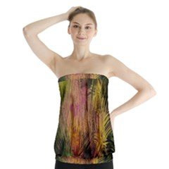 Abstract Brush Strokes In A Floral Pattern  Strapless Top