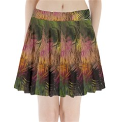 Abstract Brush Strokes In A Floral Pattern  Pleated Mini Skirt