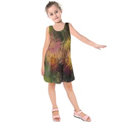 Abstract Brush Strokes In A Floral Pattern  Kids  Sleeveless Dress
