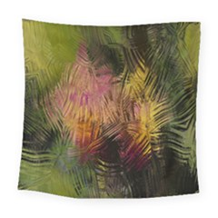 Abstract Brush Strokes In A Floral Pattern  Square Tapestry (large)