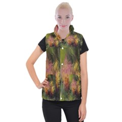 Abstract Brush Strokes In A Floral Pattern  Women s Button Up Puffer Vest