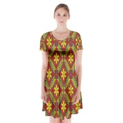 Beautiful Abstract Pattern Background Wallpaper Seamless Short Sleeve V-neck Flare Dress