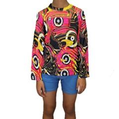 Abstract Clutter Pattern Baffled Field Kids  Long Sleeve Swimwear