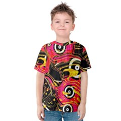 Abstract Clutter Pattern Baffled Field Kids  Cotton Tee