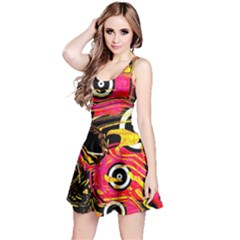 Abstract Clutter Pattern Baffled Field Reversible Sleeveless Dress