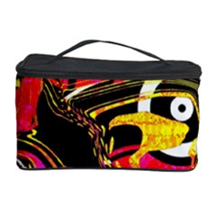 Abstract Clutter Pattern Baffled Field Cosmetic Storage Case