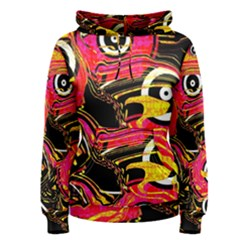 Abstract Clutter Pattern Baffled Field Women s Pullover Hoodie