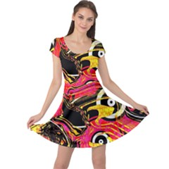 Abstract Clutter Pattern Baffled Field Cap Sleeve Dresses