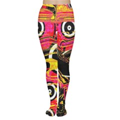 Abstract Clutter Pattern Baffled Field Women s Tights