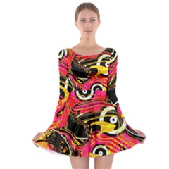 Abstract Clutter Pattern Baffled Field Long Sleeve Skater Dress