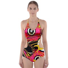 Abstract Clutter Pattern Baffled Field Cut-Out One Piece Swimsuit