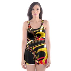 Abstract Clutter Pattern Baffled Field Skater Dress Swimsuit