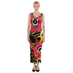 Abstract Clutter Pattern Baffled Field Fitted Maxi Dress
