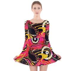 Abstract Clutter Pattern Baffled Field Long Sleeve Velvet Skater Dress