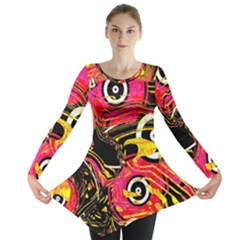 Abstract Clutter Pattern Baffled Field Long Sleeve Tunic
