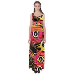 Abstract Clutter Pattern Baffled Field Empire Waist Maxi Dress