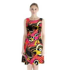 Abstract Clutter Pattern Baffled Field Sleeveless Chiffon Waist Tie Dress