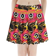 Abstract Clutter Pattern Baffled Field Pleated Mini Skirt