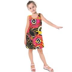 Abstract Clutter Pattern Baffled Field Kids  Sleeveless Dress
