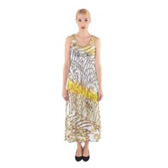 Abstract Composition Pattern Sleeveless Maxi Dress