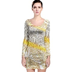 Abstract Composition Pattern Long Sleeve Bodycon Dress
