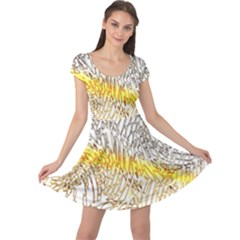 Abstract Composition Pattern Cap Sleeve Dresses