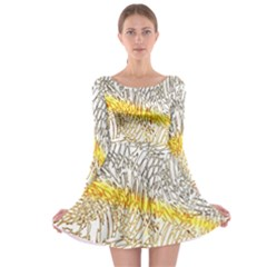 Abstract Composition Pattern Long Sleeve Skater Dress