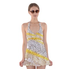 Abstract Composition Pattern Halter Swimsuit Dress