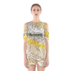 Abstract Composition Pattern Shoulder Cutout One Piece