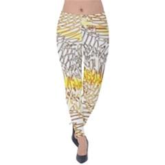 Abstract Composition Pattern Velvet Leggings