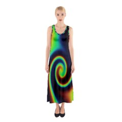 Background Colorful Vortex In Structure Sleeveless Maxi Dress