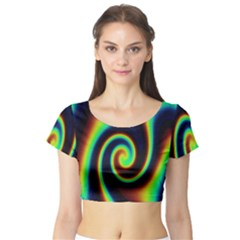 Background Colorful Vortex In Structure Short Sleeve Crop Top (Tight Fit)