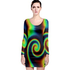 Background Colorful Vortex In Structure Long Sleeve Bodycon Dress