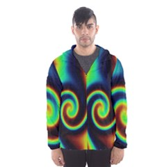 Background Colorful Vortex In Structure Hooded Wind Breaker (Men)