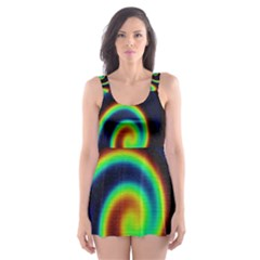 Background Colorful Vortex In Structure Skater Dress Swimsuit