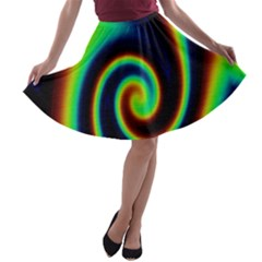 Background Colorful Vortex In Structure A-line Skater Skirt