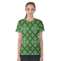 Digital Computer Graphic Seamless Geometric Ornament Women s Cotton Tee