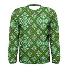 Digital Computer Graphic Seamless Geometric Ornament Men s Long Sleeve Tee