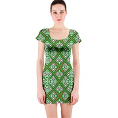 Digital Computer Graphic Seamless Geometric Ornament Short Sleeve Bodycon Dress