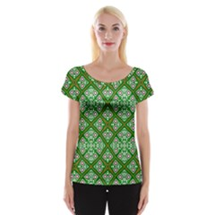 Digital Computer Graphic Seamless Geometric Ornament Women s Cap Sleeve Top