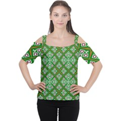 Digital Computer Graphic Seamless Geometric Ornament Women s Cutout Shoulder Tee