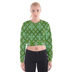 Digital Computer Graphic Seamless Geometric Ornament Women s Cropped Sweatshirt
