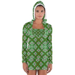 Digital Computer Graphic Seamless Geometric Ornament Women s Long Sleeve Hooded T Shirt