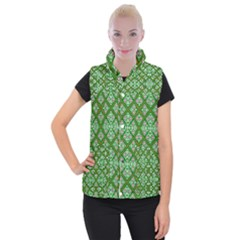 Digital Computer Graphic Seamless Geometric Ornament Women s Button Up Puffer Vest
