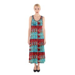 Architectural Abstract Pattern Sleeveless Maxi Dress